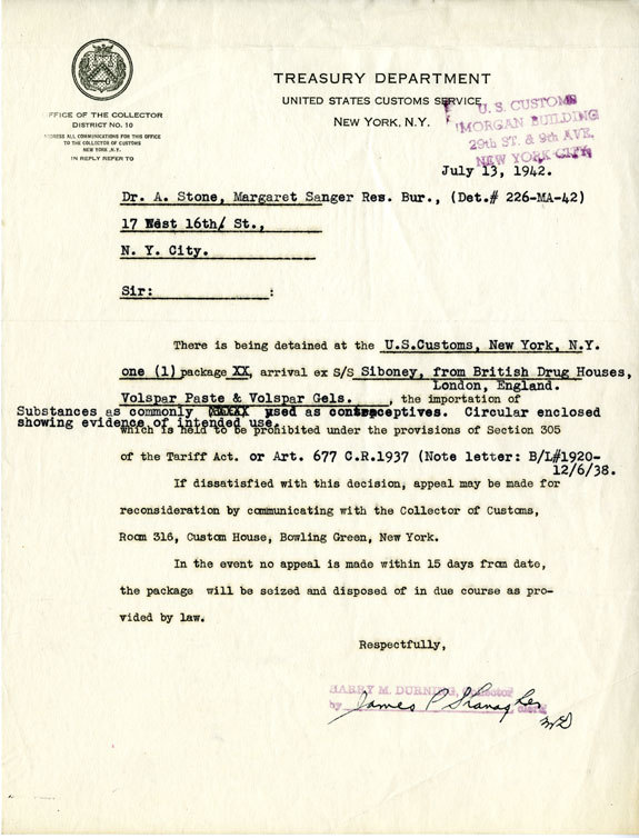 Notice from the Treasury Department, United States Customs Service, to Abraham Stone