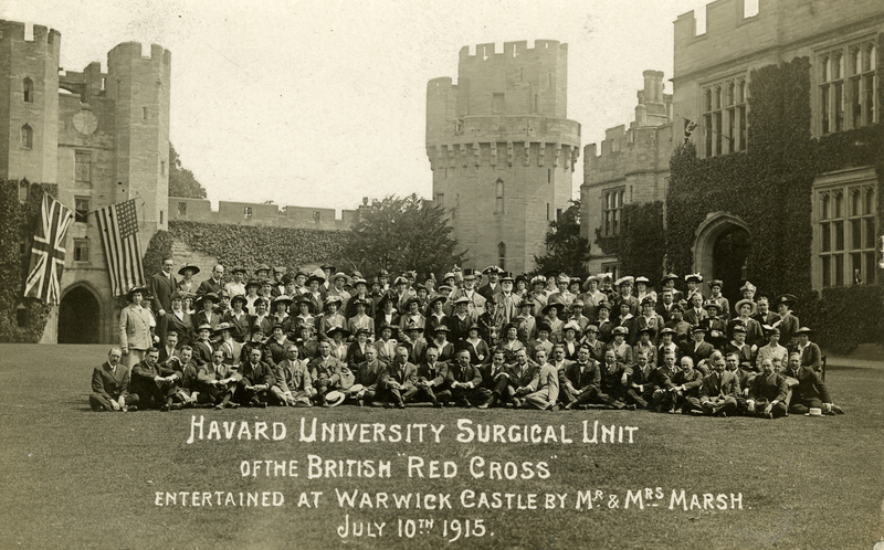 """Harvard University Surgical Unit of the British 'Red Cross' entertained at Warwick Castle by Mr. & Mrs. Marsh, July 10th 1915"""