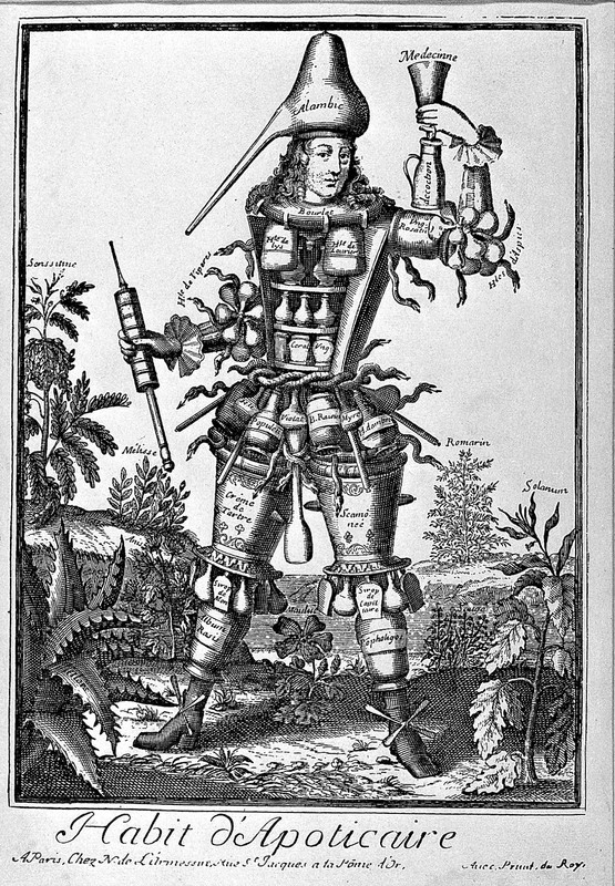 A figure made up of components of the apothecary trade. Engraving by N. de Larmessin II, 1695.