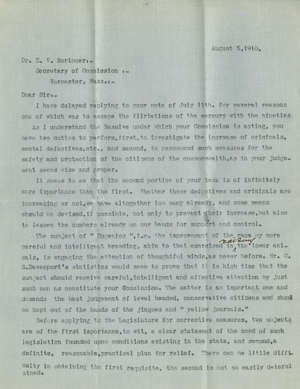 Draft of letter to Ernest V. Scribner from George Washington Gay