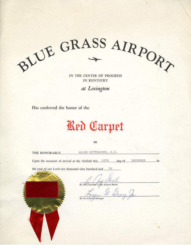 Certificate from Blue Grass Airport