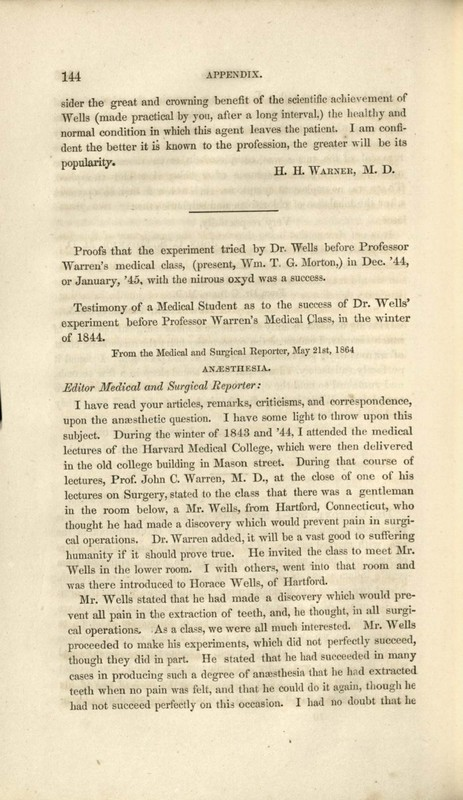 Testimonies of Medical Students at Harvard to Horace Wells' Demonstration