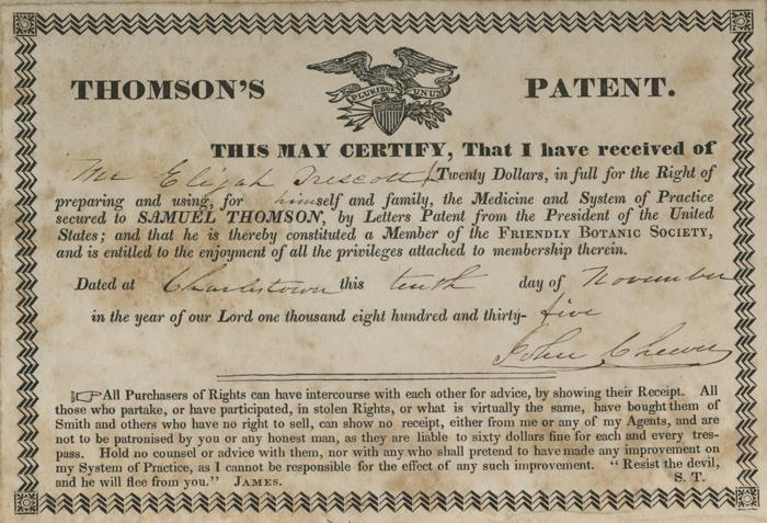 Thomson's patent for Elijah Trescott