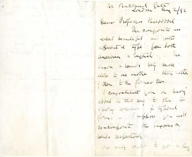 Letter to Henry Pickering Bowditch from Sir Francis Galton