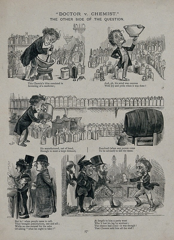 A cartoon illustrating the competition between physicians and apothecaries. Etching by an unknown artist, c. 1880.