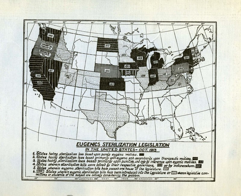 Map of eugenic sterilization laws by state