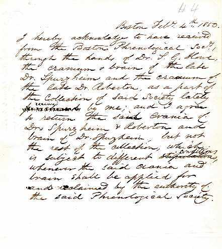 Receipt for Spurzheim's cranium from the Boston Phrenological Society