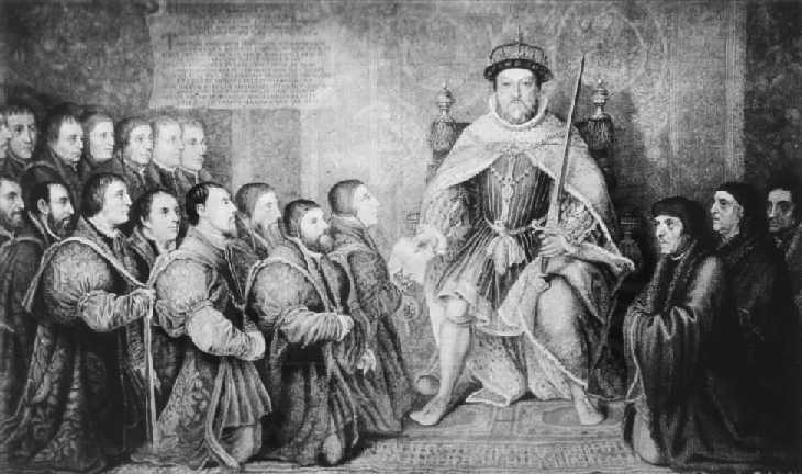 Henry VIII in 1540 handing to Thomas Vicary the Act of Union between the Barbers and Surgeons of London