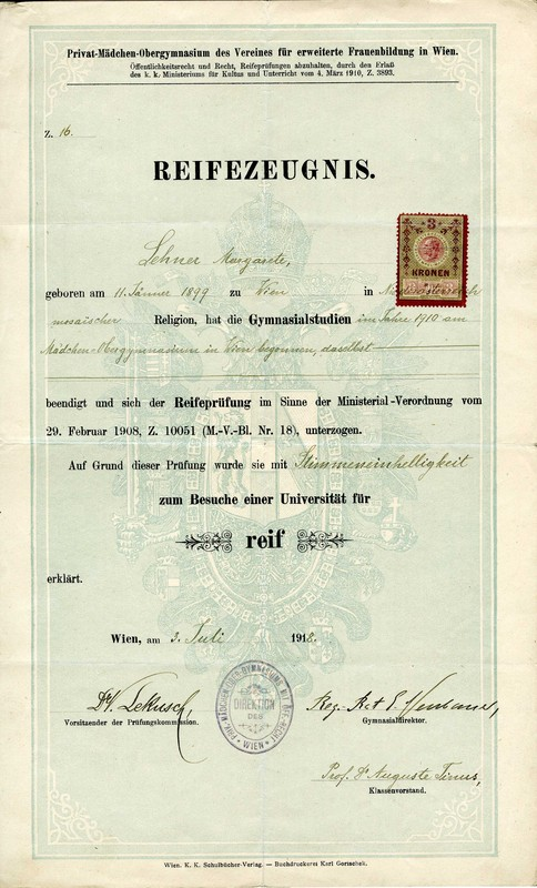 Diploma from the Gymnasium, Vienna