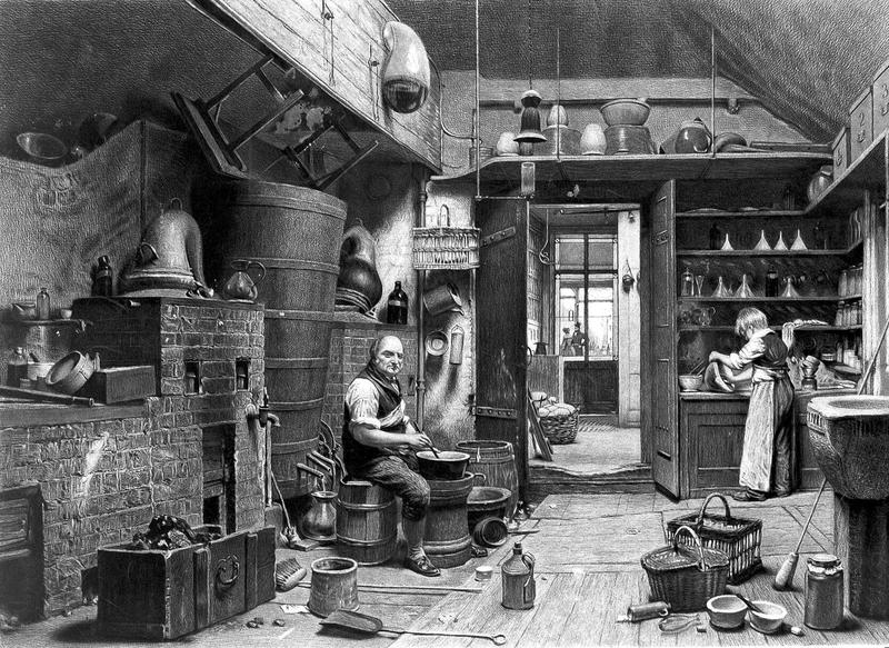 An apothecary and his apprentice working in the laboratory of John Bell's pharmacy. Engraving by J.G. Murray, after W.H. Hunt, 1842.