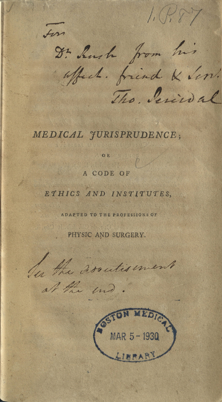 Medical jurisprudence; or, A code of ethics and institutes, adapted to the professions of physic and surgery.