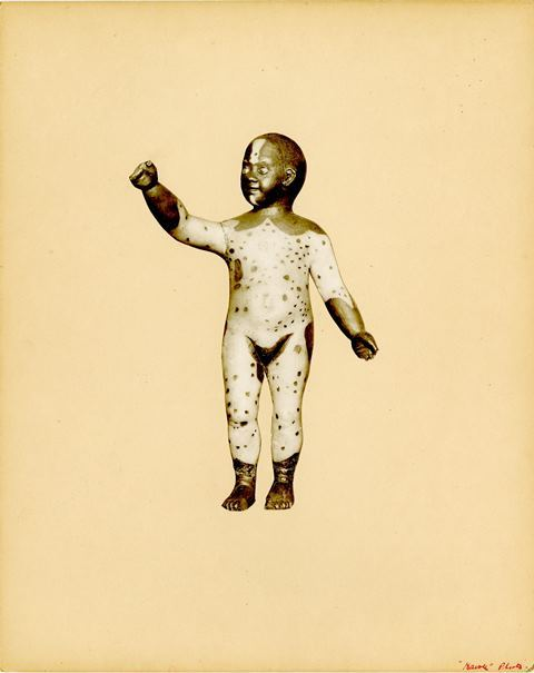 Mounted photographic print of the wax model of Magdeleine of Martinique (recto).