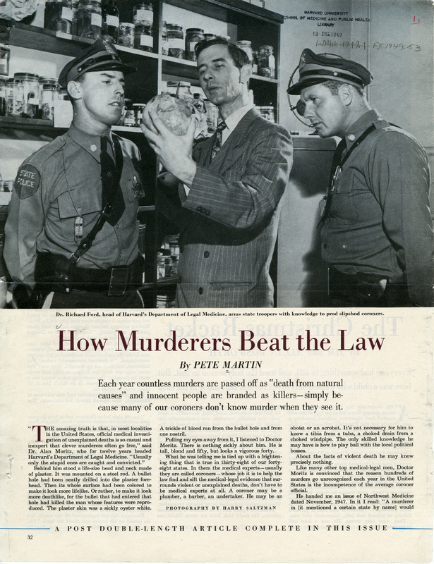 """How murderers beat the law,"" from The Saturday Evening Post, December 10, 1949. Page 032-033.<br />"