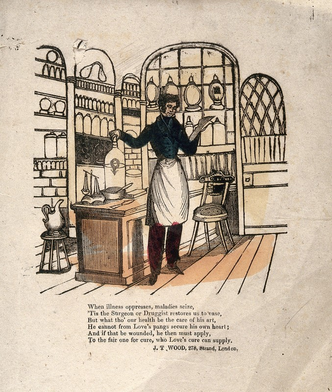 A pharmacist making up prescriptions in his shop. Woodcut, artist unknown, 1800s