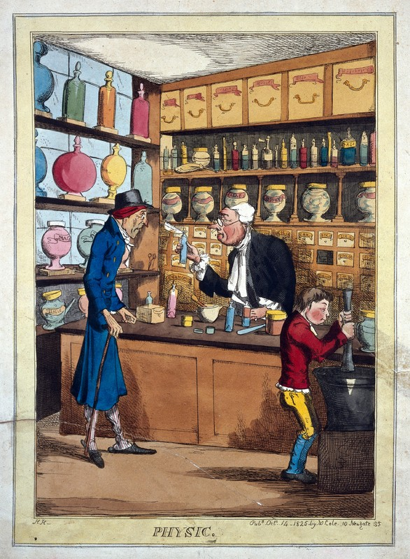 The interior of an apothecary's shop, with an apprentice working the mortar and pestle. Coloured etching by H. Heath, 1825.