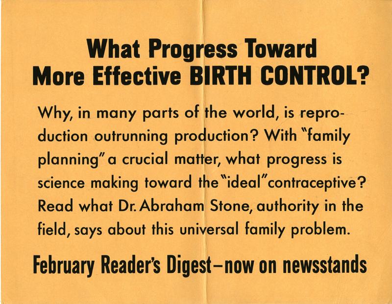 What Progress Toward More Effective Birth Control?