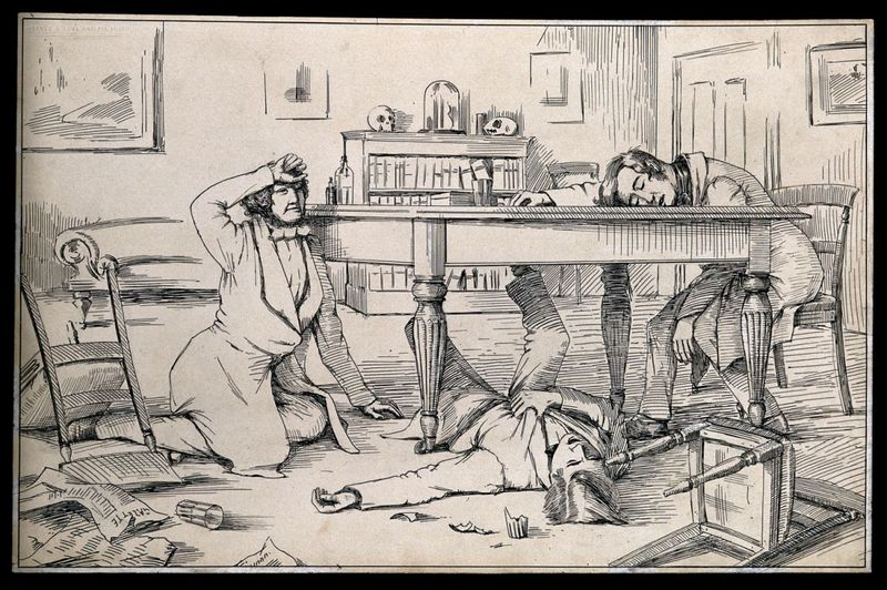 Sir James Young Simpson and two friends, insensible after having tested chloroform on themselves. Simpson was the first physician to demonstrate the anaesthetic properties of chloroform on humans. Pen and ink drawing, artist unknown, c.1847.