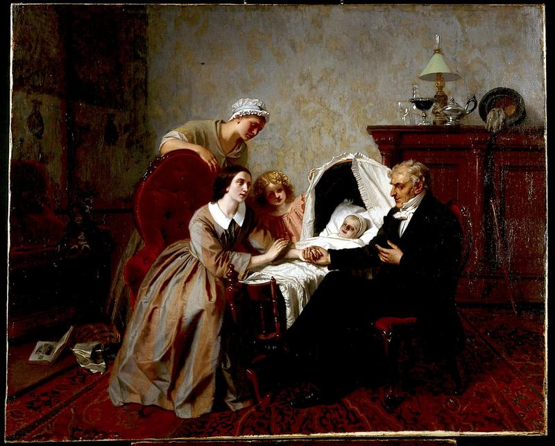 The Physician's Verdict. Oil painting by Emile Carolus Leclerq, 1857.
