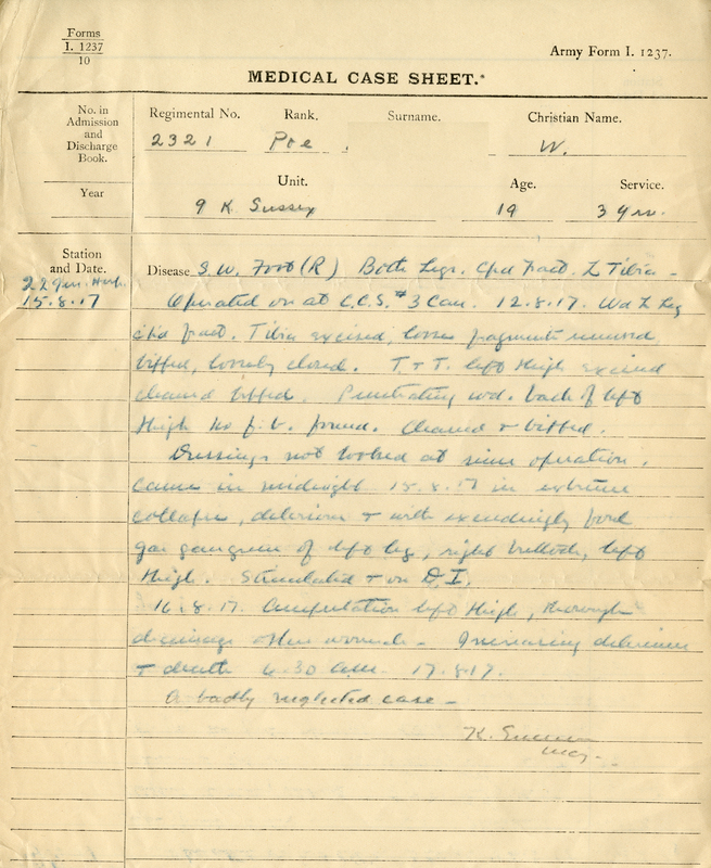 Medical Case Sheet (Army Form I. 1237), August 15-17, 1917.<br />