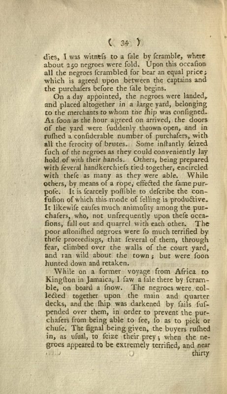 An account of the slave trade on the coast of Africa  by Alexander Falconbridge. London : Printed by J. Phillips, 1788. Page 034-035.