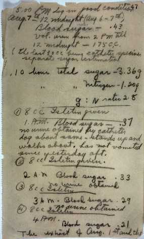 Laboratory Notes of Sir Frederick Grant Banting and Charles Herbert Best