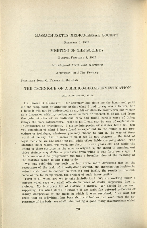 """The technique of a medico-legal investigation"" by George B. Magrath. Page 20-28."