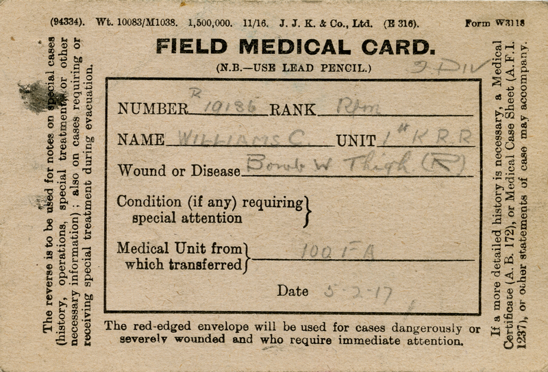 Field Medical Card, May 1917.<br />