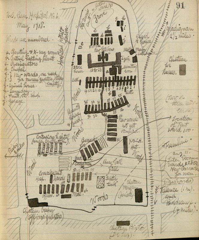 Drawing of U.S. Base Hospital No. 6.