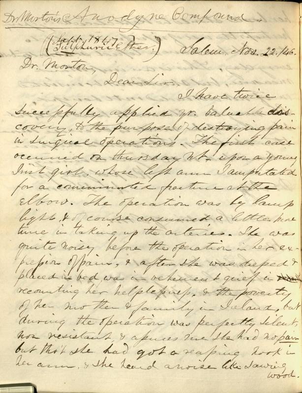 A. L. Peirson letter to W. T. G. Morton, 1847