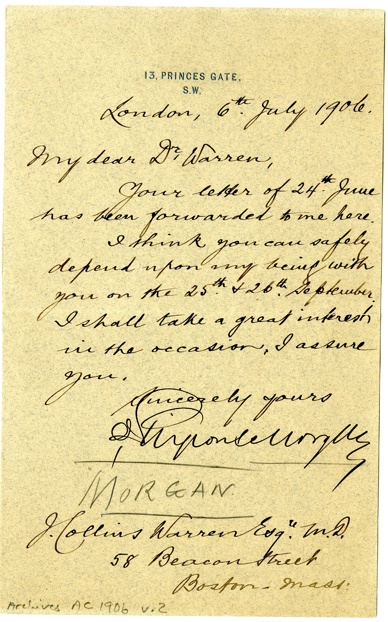 Letter From J Pierpont Morgan To J Collins Warren 183 Onview Digital Collections Amp Exhibits