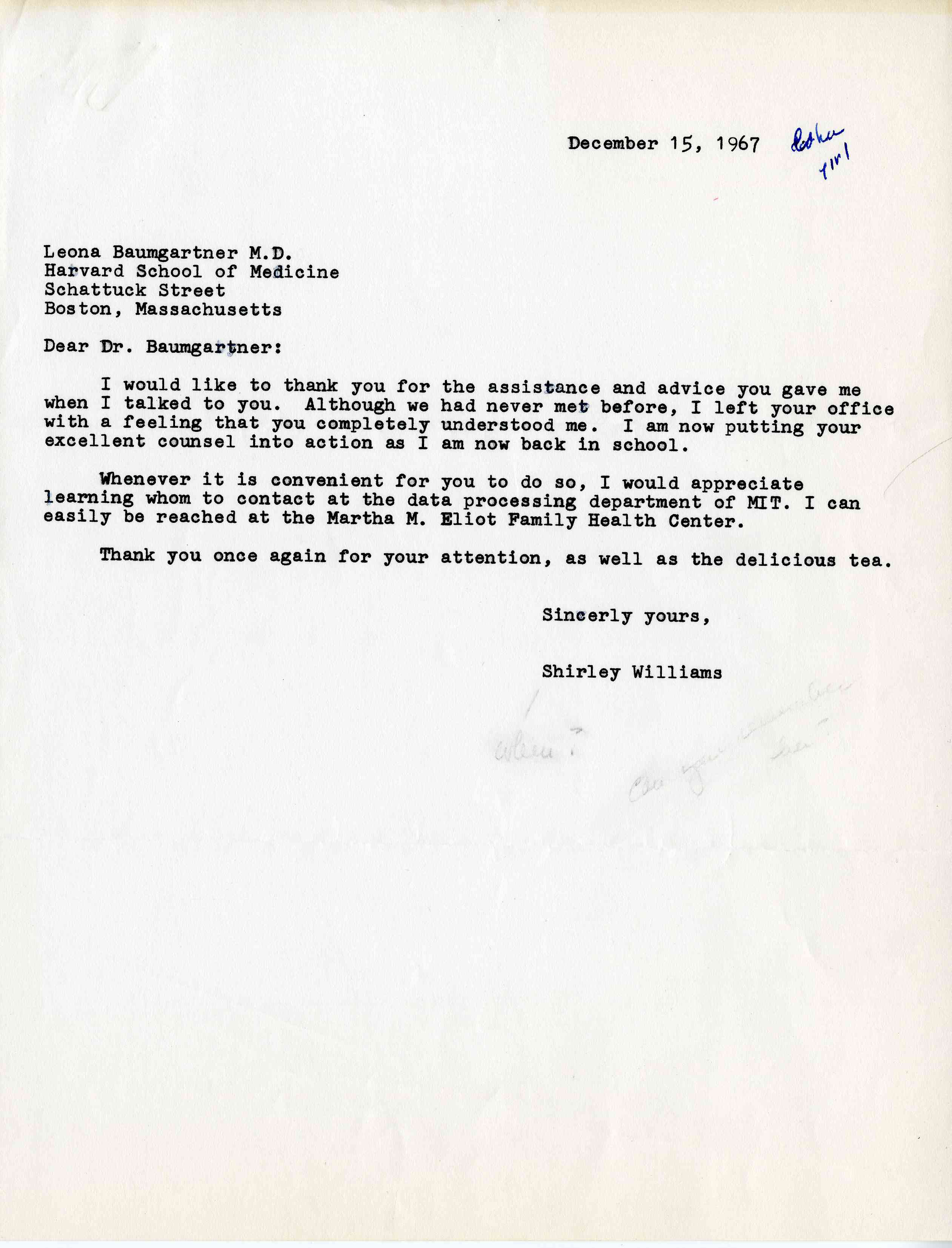 Letter From Shirley Williams To Leona Baumgartner Md Onview