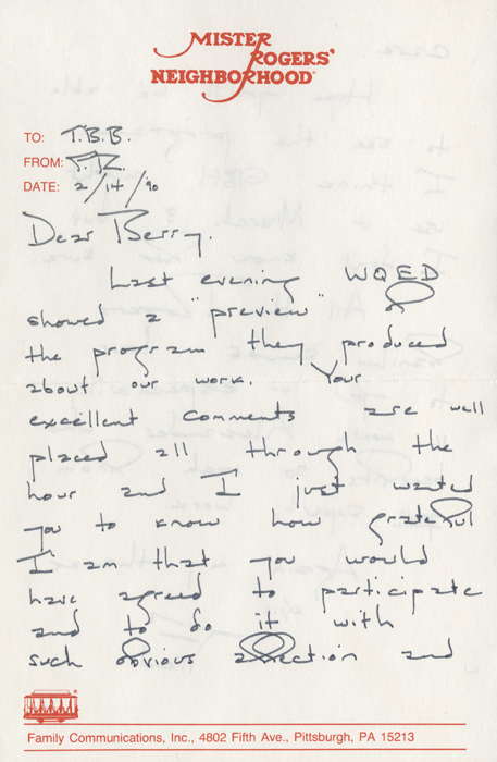 Letter From Mister Rogers To T Berry Brazelton Onview Digital Collections Exhibits