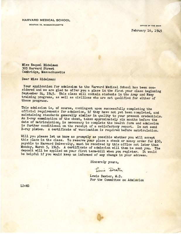 Raquel E Cohen s Letter of Acceptance to Harvard Medical School