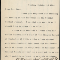 Letter from Dr. J. Collins Warren to Dr. George W. Gay