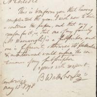 Letter from Benjamin Waterhouse to David Carlisle