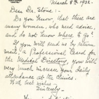 """Letter from """"Woman's Activities"""" to Hannah Stone"""