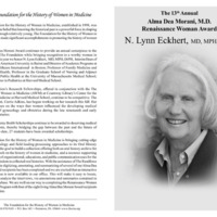 Program for the Alma Dea Morani Award ceremony for Lynn Eckhert
