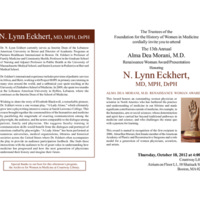 Invitation for the Alma Dea Morani Award ceremony for Lynn Eckhert