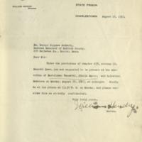 Letter : Charlestown, Mass., to George B. Magrath, <br /> Boston, Mass., August 18, 1927.<br />