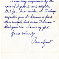 Letter from Anna Freud to Lydia Dawes, M.D.
