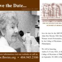 Save the Date for the Alma Dea Morani Award ceremony for Audrey Evans