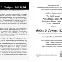 Invitation for the Alma Dea Morani Award ceremony for Catherine DeAngelis