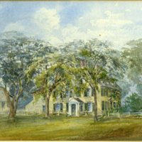 Watercolor sketch of old Holmes house