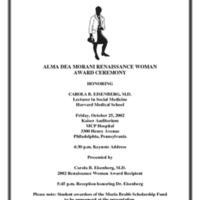 Flyer for the Alma Dea Morani Award ceremony for Carola Eisenberg
