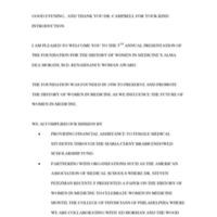 Script for the Alma Dea Morani Award ceremony for Christine Haycock