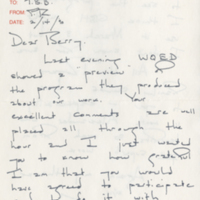 Letter from Mister Rogers to T. Berry Brazelton