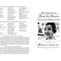 Invitation for the Alma Dea Morani Award ceremony for Audrey Evans