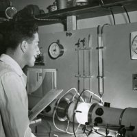 August T. Rossano, Jr. conducting research for the Atomic Energy Commission  and the Department of Industrial Hygiene at the Harvard School of Public Health