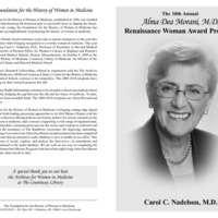 Program for the Alma Dea Morani Award ceremony for Carol Nadelson