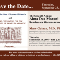 Save the Date for the Alma Dea Morani Award ceremony for Mary Guinan